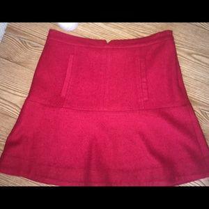 Meadow Rue Wool A line skirt, red sz. 6